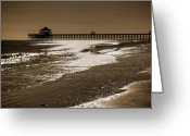 Sepia Greeting Cards - Folly Pier Sunset Greeting Card by Drew Castelhano