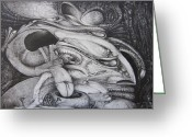 Surrealism Drawings Greeting Cards - Fomorii General Greeting Card by Otto Rapp
