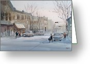 Architecture Painting Greeting Cards - Fond du Lac - Downtown Greeting Card by Ryan Radke