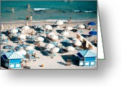 Umbrellas Greeting Cards - Fontainebleau Blue Greeting Card by Lisa Eryn