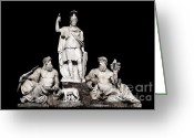 E Black Greeting Cards - Fontana della Dea Roma tra il Tevere e lAniene Greeting Card by Fabrizio Troiani