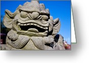 Foo Lions Greeting Cards - Foo Dog Greeting Card by Extrospection Art