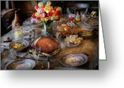 Table Cloth Greeting Cards - Food - Easter Dinner Greeting Card by Mike Savad