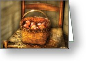 Fruit Basket Greeting Cards - Food - Fresh Peaches  Greeting Card by Mike Savad