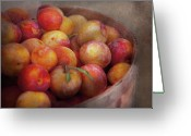 Peachy Greeting Cards - Food - Peaches - Farm fresh peaches  Greeting Card by Mike Savad
