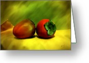 Persimmons Greeting Cards - Food for the Gods Greeting Card by Kurt Van Wagner