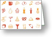 Guava Greeting Cards - Food Icon Set Greeting Card by Eastnine Inc.