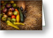 Peppers Greeting Cards - Food - Vegetables - Very early harvest Greeting Card by Mike Savad