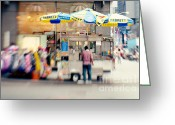 Street Vendor Greeting Cards - Food Vendor in New York City Greeting Card by Kim Fearheiley