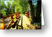 Creeks Greeting Cards - Foot Bridge Greeting Card by Cheryl Young
