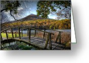 Foilage Greeting Cards - Foot Bridge Greeting Card by Todd Hostetter