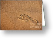 Walk Way Photo Greeting Cards - Foot Print Greeting Card by Carlos Caetano