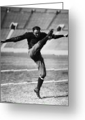 Kicking Football Greeting Cards - FOOTBALL, 20th CENTURY Greeting Card by Granger