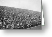 Soccer Stadium Greeting Cards - Football Crowd Greeting Card by J Gaiger