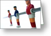 Player Photo Greeting Cards - Football figurines Greeting Card by Bernard Jaubert