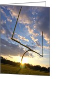 Stadium Greeting Cards - Football Goal at Sunset Greeting Card by Olivier Le Queinec