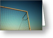 Soccer Greeting Cards - Football Goalpost And Net Greeting Card by Kevin Button