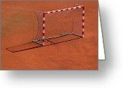 Soccer Greeting Cards - Football Net On Red Ground Greeting Card by Daniel Kulinski