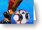Barcelona Mixed Media Greeting Cards - Football Nixo Greeting Card by Nicholas Nixo