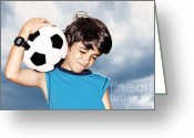 Soccer Sport Greeting Cards - Football player celebrating victory Greeting Card by Anna Omelchenko