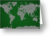 Grass Greeting Cards - Football Soccer Balls World Map Greeting Card by Michael Tompsett