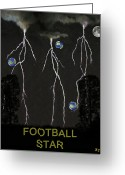 German Football Greeting Cards - Football Star Greeting Card by Eric Kempson