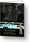German Football Greeting Cards - Football Tour Scream Greeting Card by Eric Kempson