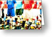 Football Photo Greeting Cards - Footballers Unite Greeting Card by Andy Smy
