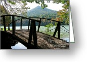 Appalachian Mountains Greeting Cards - Footbridge Peaks of Otter Greeting Card by Thomas R Fletcher