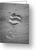 Imported Greeting Cards - Footprint In The Sand  Greeting Card by Joe Fox