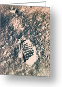 Surface Greeting Cards - Footprint On Lunar Surface Greeting Card by Stockbyte
