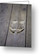 Wood Floor Greeting Cards - Footprints Carved In Wooden Floor Greeting Card by David Evans