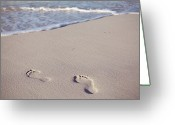 Footprint Greeting Cards - Footprints In Sand Greeting Card by Niamh O