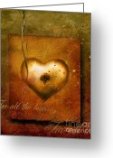Gold Mixed Media Greeting Cards - For all the love Greeting Card by Photodream Art