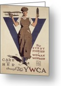 Plane Greeting Cards - For Every Fighter a Woman Worker Greeting Card by Adolph Treidler