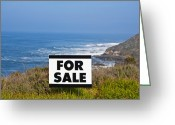 Ocean Front Greeting Cards - For Sale Sign Near Beach Greeting Card by David Buffington