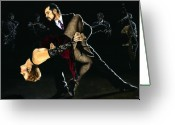 Silk Art Greeting Cards - For the Love of Tango Greeting Card by Richard Young