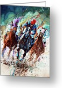 Thoroughbred Race Art Card Greeting Cards - For The Roses Greeting Card by Hanne Lore Koehler