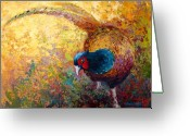 Animal Hunting Greeting Cards - Foraging Pheasant Greeting Card by Marion Rose