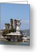 Alcatraz Light House Greeting Cards - Forbes Island Restaurant With Alcatraz Island in The Background . San Francisco California . 7D14257 Greeting Card by Wingsdomain Art and Photography