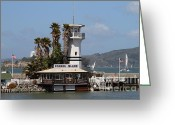 Alcatraz Light House Greeting Cards - Forbes Island Restaurant With Alcatraz Island in The Background . San Francisco California . 7D14258 Greeting Card by Wingsdomain Art and Photography