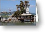Alcatraz Light House Greeting Cards - Forbes Island Restaurant With Alcatraz Island in The Background . San Francisco California . 7D14261 Greeting Card by Wingsdomain Art and Photography