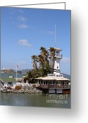 Alcatraz Light House Greeting Cards - Forbes Island Restaurant With Alcatraz Island in The Background . San Francisco California . 7D14263 Greeting Card by Wingsdomain Art and Photography