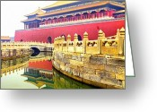 Forbidden City Greeting Cards - Forbidden city Gates Greeting Card by Anthony Silver