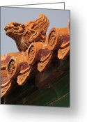 World Culture Greeting Cards - Forbidden City Guardian Greeting Card by Carol Groenen