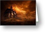Gloomy Greeting Cards - Forbidden Mansion Greeting Card by Svetlana Sewell