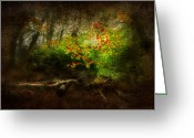 Light Green Digital Art Greeting Cards - Forbidden Woods Greeting Card by Svetlana Sewell