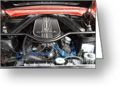 Collectors Car Greeting Cards - Ford Falcon Under the Hood 7d15147 Greeting Card by Wingsdomain Art and Photography