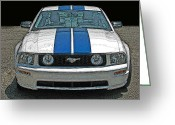 Carroll Shelby Photo Greeting Cards - Ford Mustang GT Front View Greeting Card by Samuel Sheats