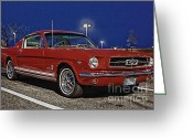 Classic Mustang Greeting Cards - Ford Mustang Red Classic Fastback  Greeting Card by Pictures HDR